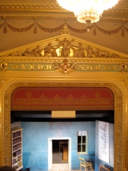 The proscenium at the National Theater, with its motto: Narod Sobě